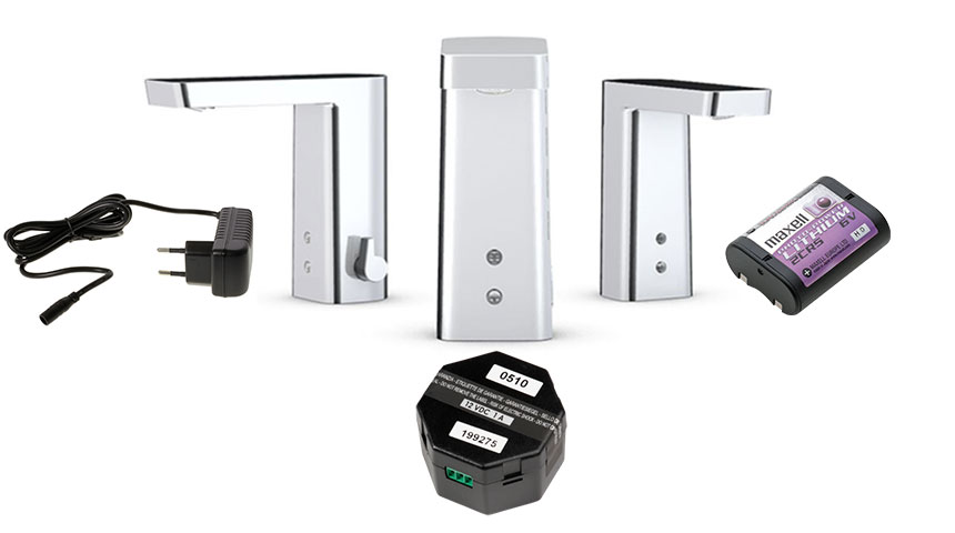 There are different power supply options available for touchless faucets: plug transformer (on the left), hub transformer (in the middle) and battery (on the right)