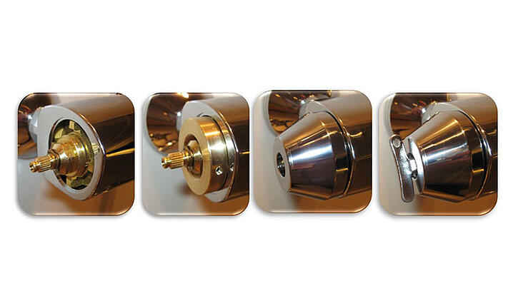 Protection covers enable the control and limitation of temperature and water flow for HANSAMICRA thermostats.
