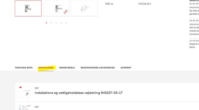 """Bare søg efter produktnummeret og åben fanebladet """"Downloads"""" inde på produktsiden."""