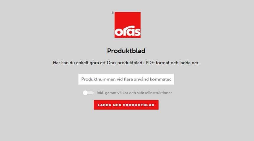 Oras databladsverktyg, gör egna produktblad