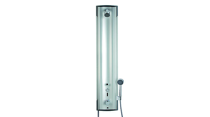Shower panel with temperature regulator and hand shower - available for both 6 V and 12 V.