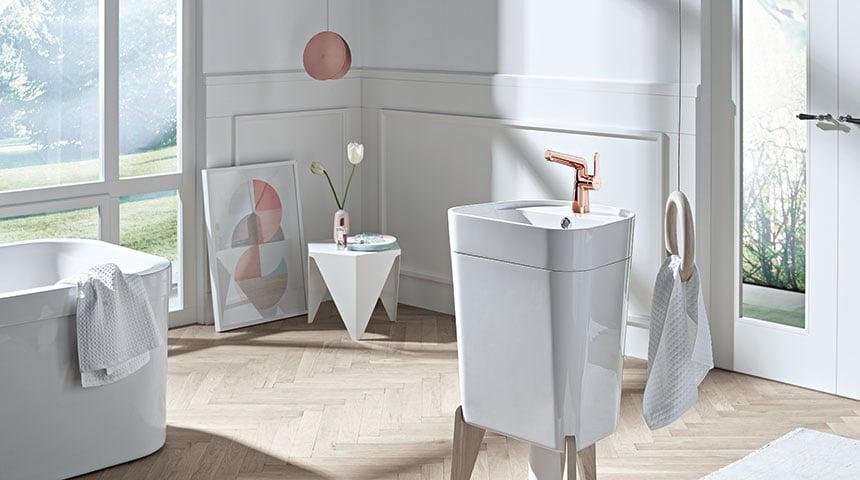 Oras Inspera fås i en eksklusiv rosaguld model til badeværelset.