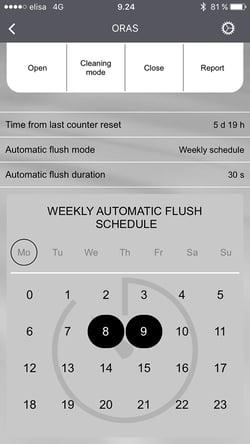 Oras App giver mulighed for at planlægge automatiske skyl.