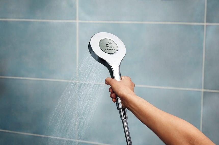 Digital hand shower saving water and energy