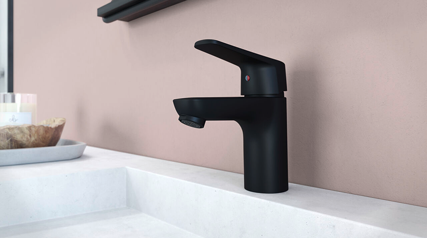 Oras Vega matte black bathroom faucet has a scratch-resistant surface and convenient eco button for increased safety and sustainability.