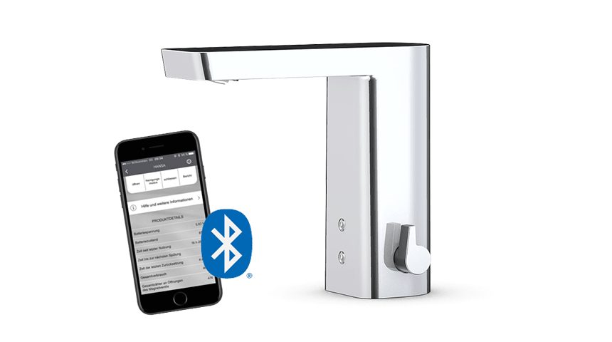 Oras Stela is one of the many SMART touchless faucets available with Bluetooth connection